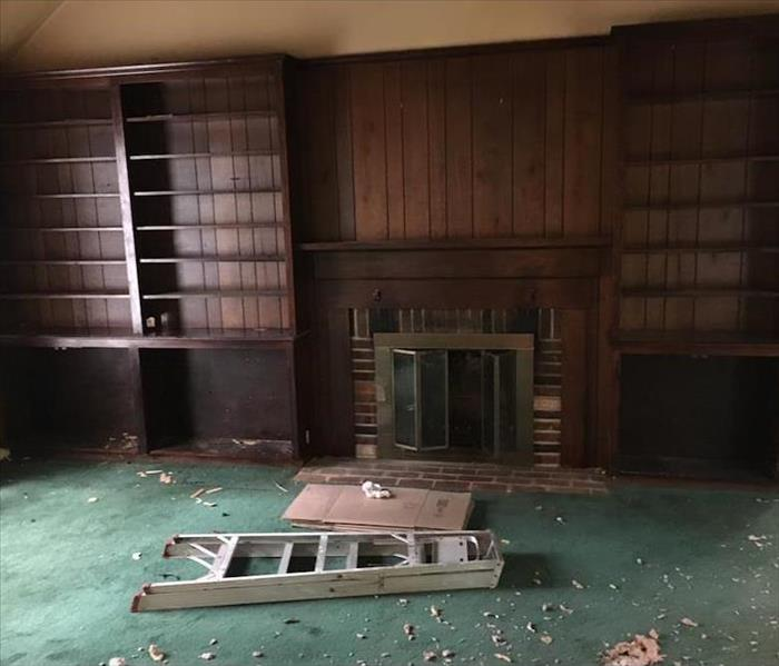 living room photos with fire damage
