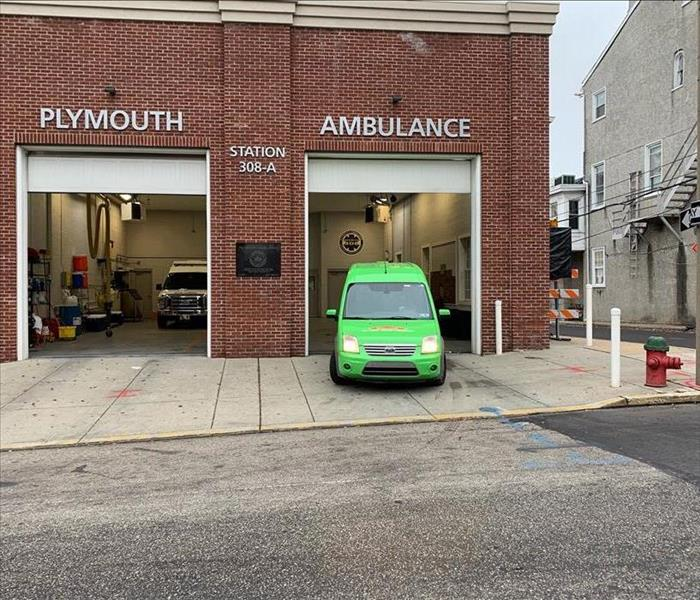 SERVPRO GREEN VAN Parked at the Plymouth Ambulance Station