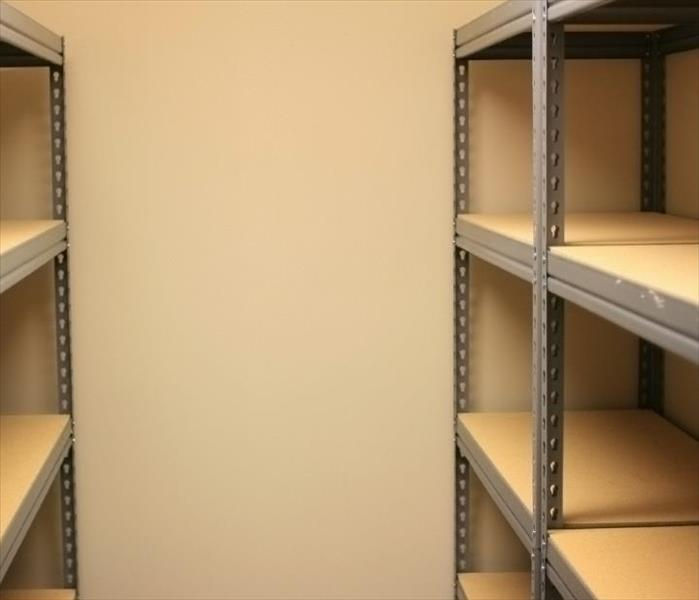 Shelving units in storage room